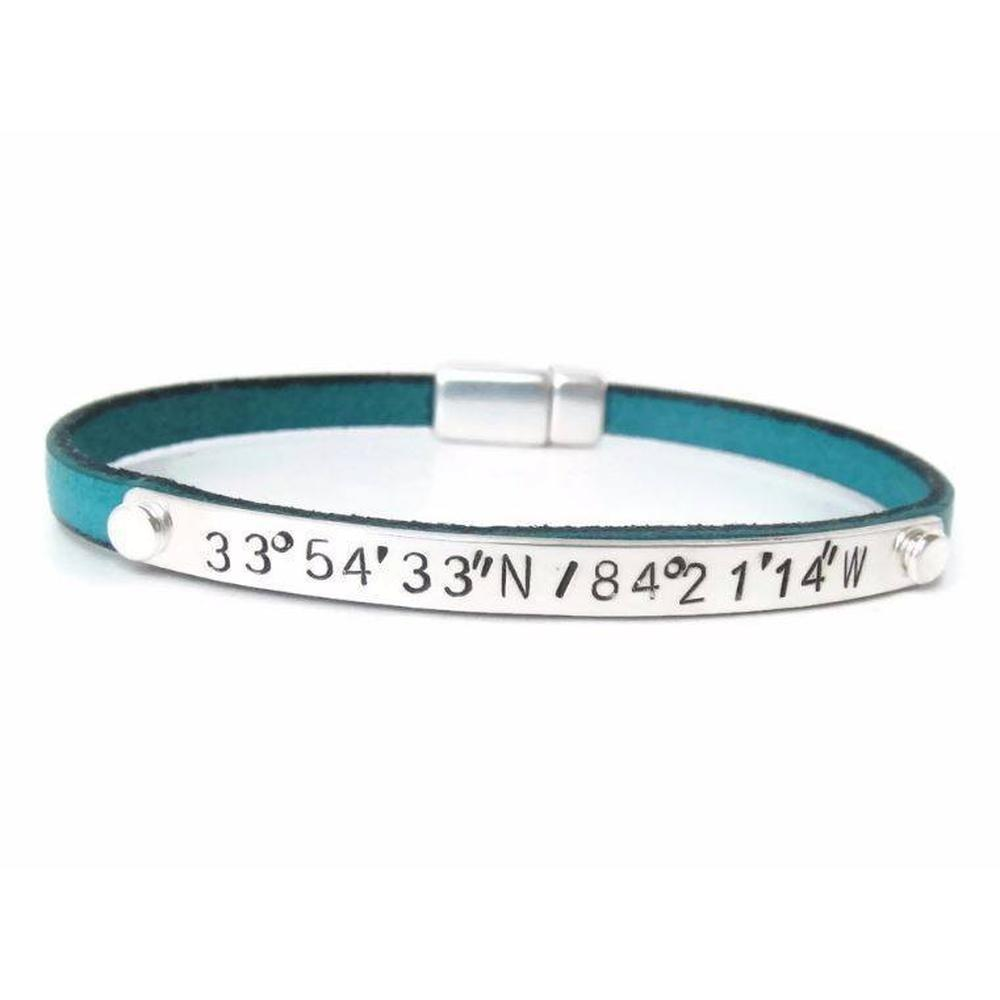 Personalized Leather Coordinate Bracelet-The Modern Bazaar
