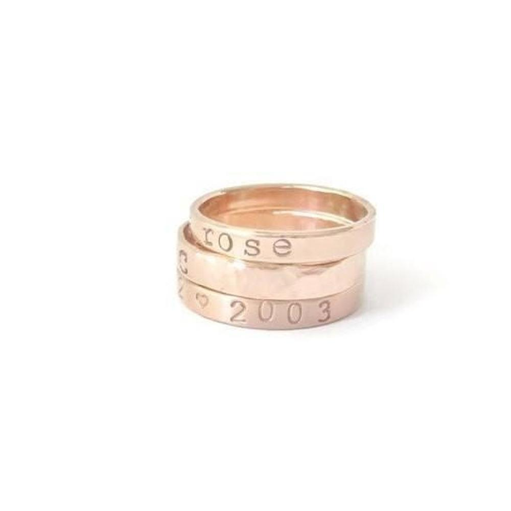 Personalized Rose Gold Stacking Name Rings, Mom Ring-The Modern Bazaar