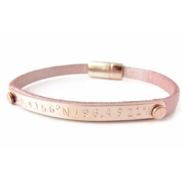 Rose Gold Personalized Coordinate Leather Bracelet-The Modern Bazaar