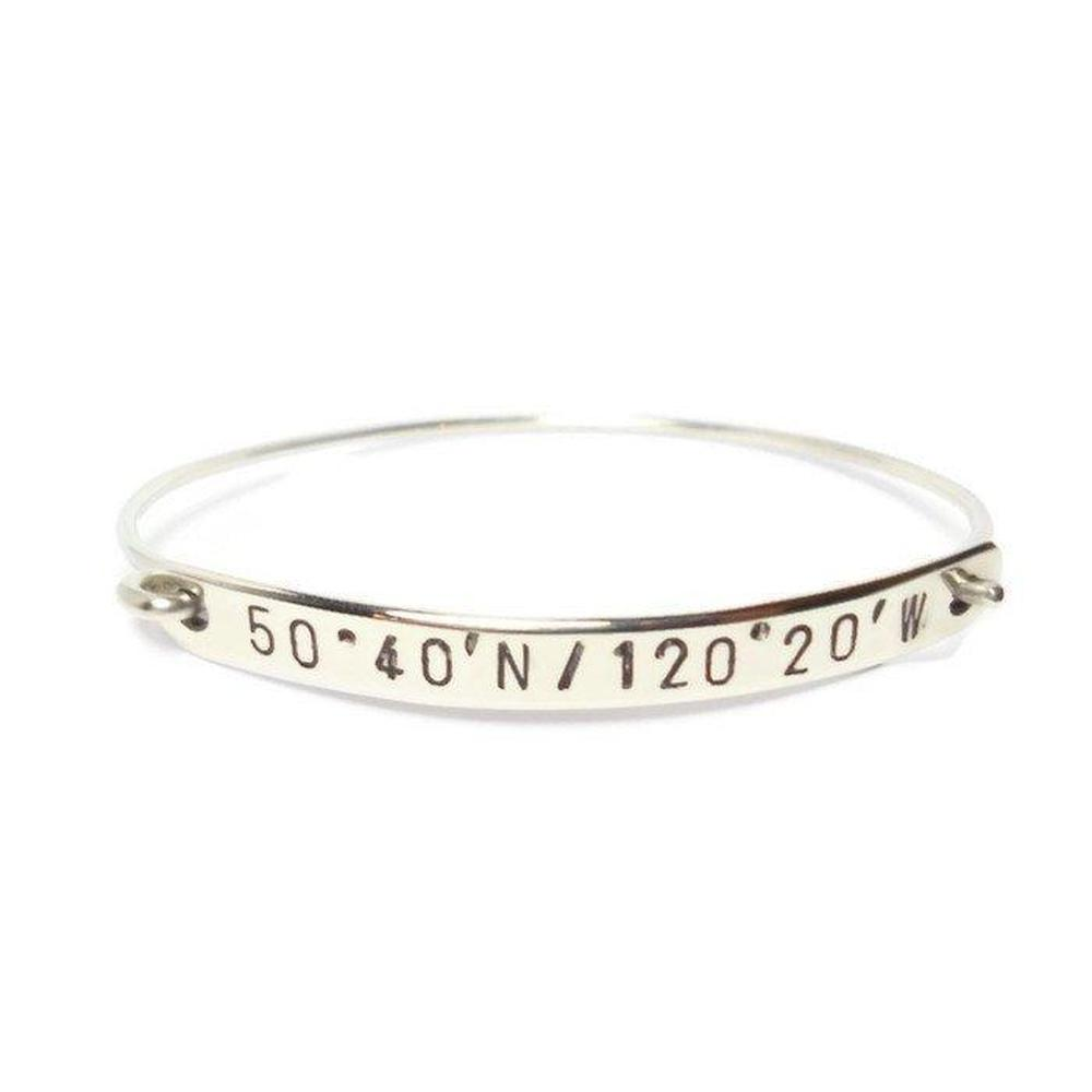 coordinates wanelo bar id longitude hand shop sterling and custom bracelet latitude silver stamped on personalized