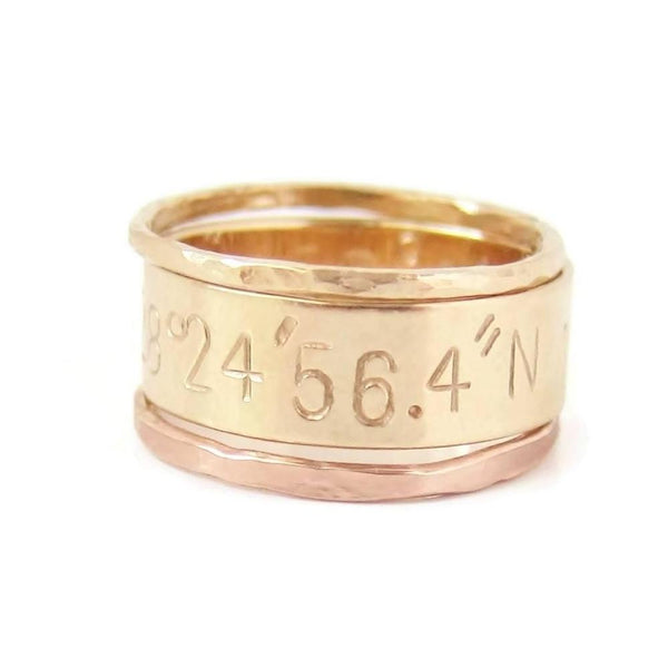 Stacking Ring Set with Custom Coordinates-Ring-The Modern Bazaar