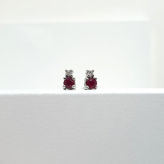 RUBY STUD DIAMOND EARINGS