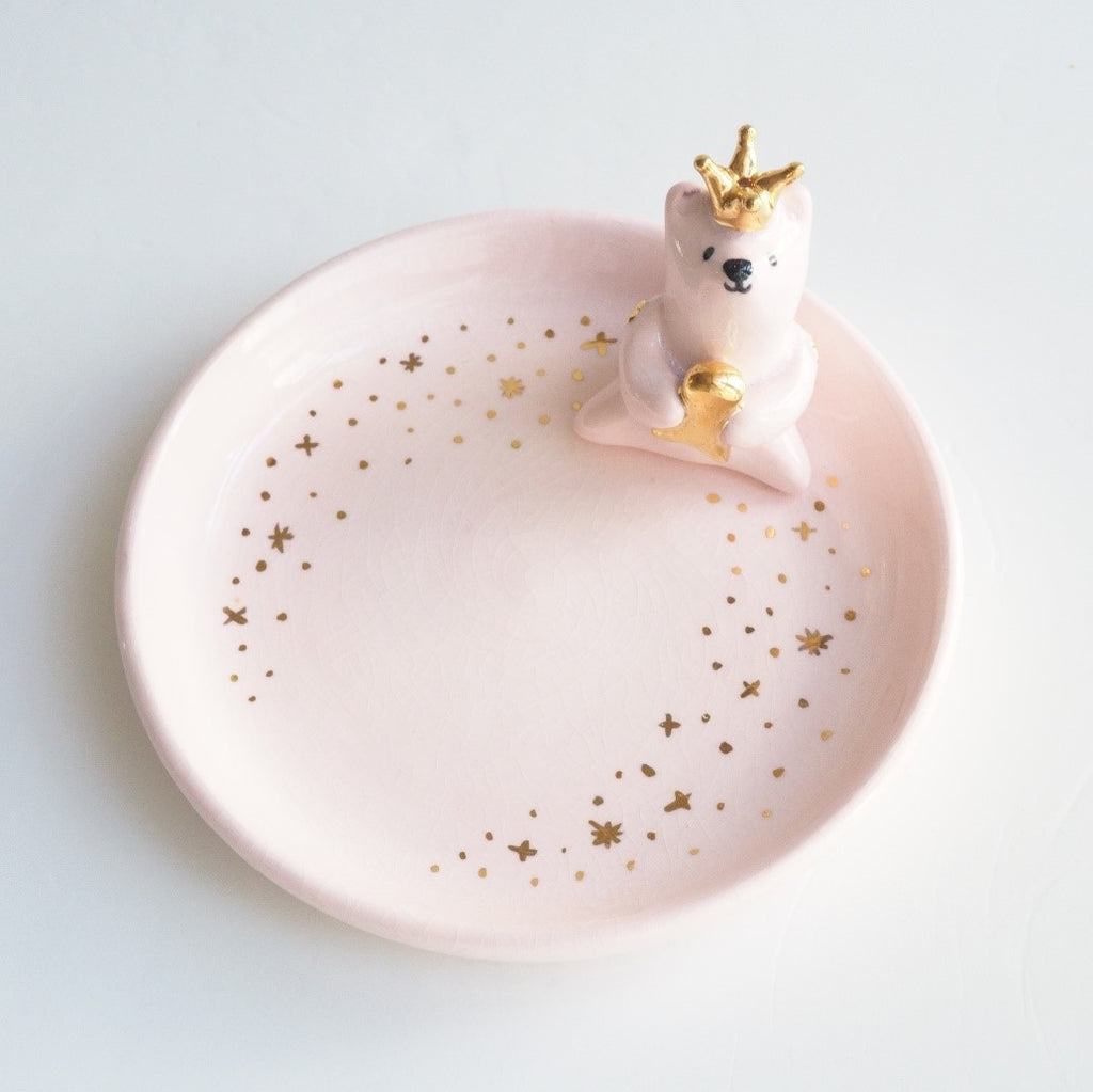 The Pink Pink Polar Bear Jewelry Dish (Ice Cracking Glaze)