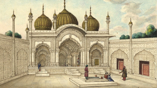Indian Palace - Original early 19th-century watercolour painting