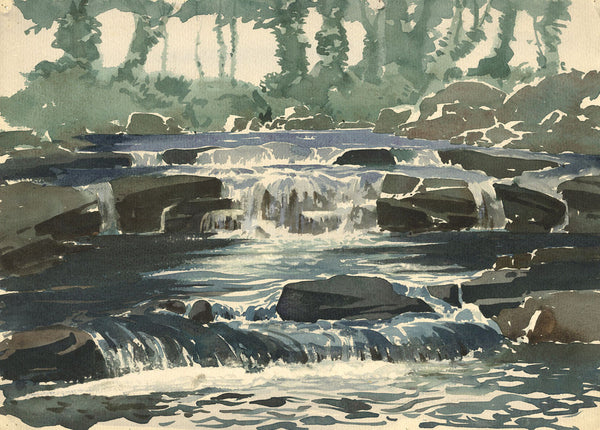 Myles Tonks, Rocky River - Original early 20th-century watercolour painting