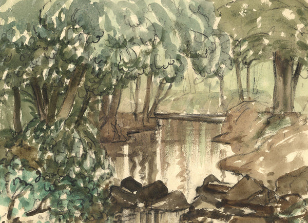 Myles Tonks, Woodland Water - Original early 20th-century watercolour painting