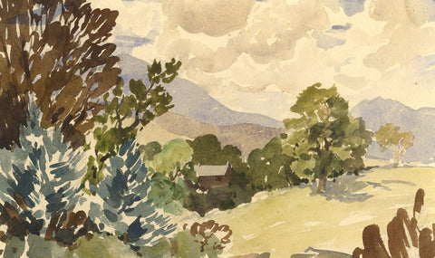 Myles Tonks, Country View - Original early 20th-century watercolour painting