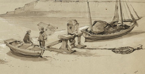 Fishing Boats, Brighton - Original 19th-century pen & ink drawing