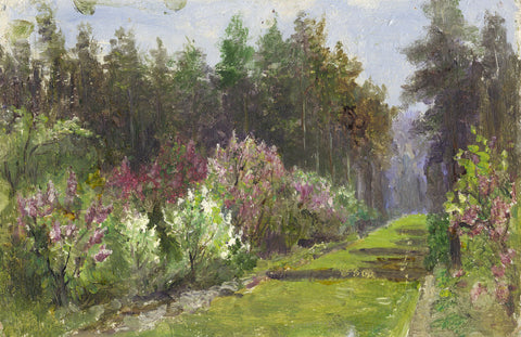 Eva Walbourn, Garden Pathway - Original early 20th-century oil painting