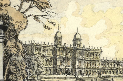 Patrick Faulkner, Stately Home - Original mid-20th-century pen & ink drawing