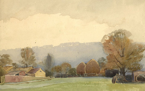 Lucy Middleton, Meadow - Original early 20th-century watercolour painting