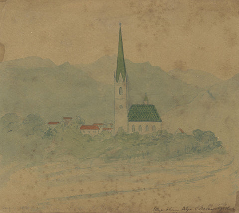 Harriet Sneyd, Church, Botzen, Tyrol, Italy - Original 1830 watercolour painting