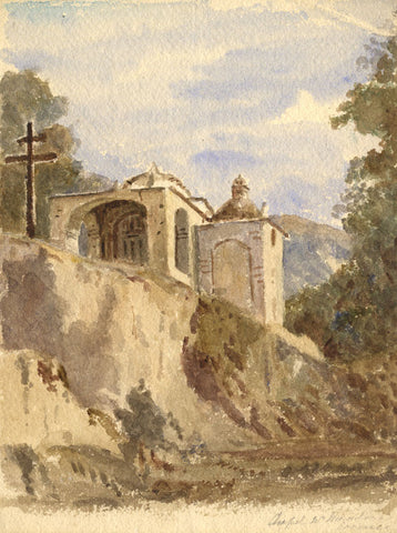 Harriet Sneyd, Continental Chapel - Original 19th-century watercolour painting