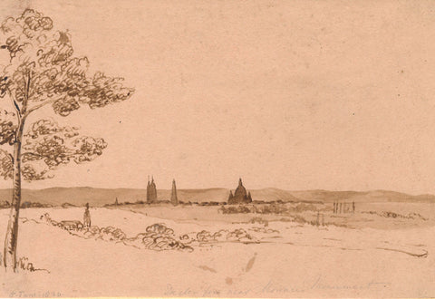 Harriet Sneyd, Dresden from Moreau Monument - Original 1830 watercolour painting