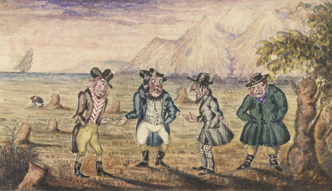 Four Characterful Gentleman - Original early 19th-century watercolour painting