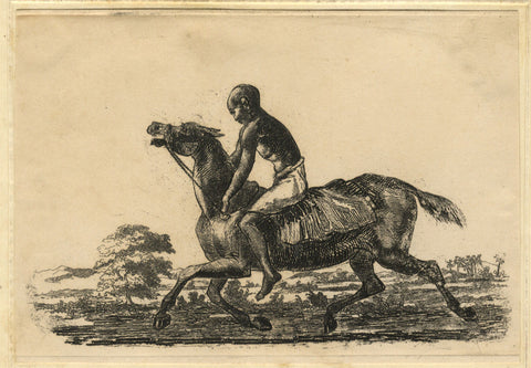 A. Hunter, Indian Horseback Rider - Original early 19th-century etching print