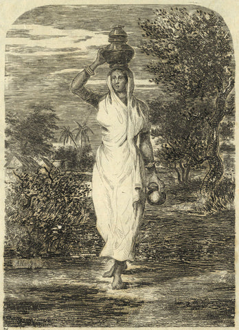 A. Hunter, Indian Lady Carrying a Pot -Original early 19th-century etching print