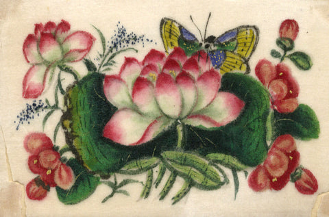 Antique 19th-century Chinese Pith Painting, Lotus Flower & Butterfly