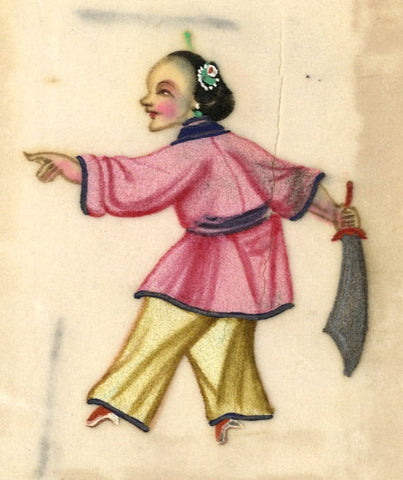 Antique 19th-century Chinese Pith Painting, Sword Dance Woman