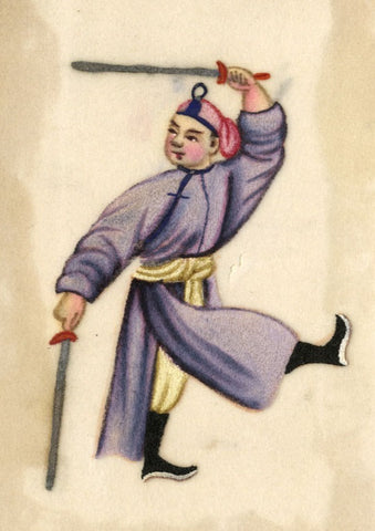 Antique 19th-century Chinese Pith Painting, Sword Dance Man