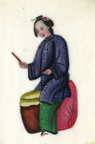Antique 19th-century Chinese Pith Painting, Musician Woman Playing Tanggu Drum