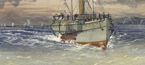 Morning, Arrival of Mail Steamer - Original 19th-century watercolour painting