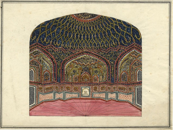Mosque Interior Indian Company Painting - Original 19th-century watercolour