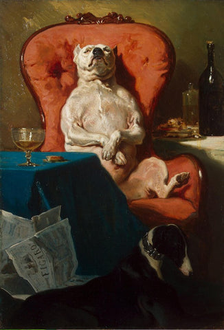 Pug Dog in an Armchair by Alfred de Dreux