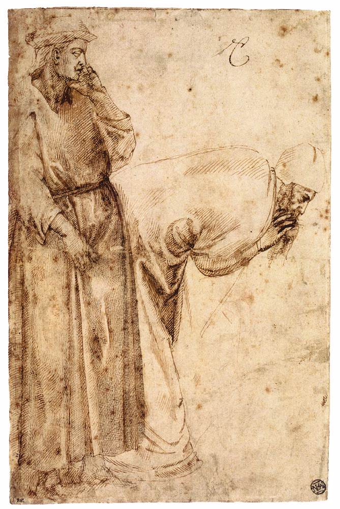 Michelangelo, Two Male Figures after Giotto