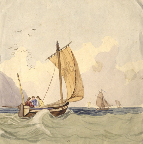 Sailing Boats at Sea - Original 19th-century watercolour painting