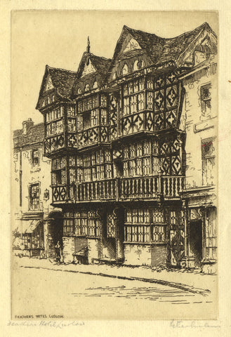 Peter Graham, Feathers Hotel Ludlow - Original late 19th-century etching print