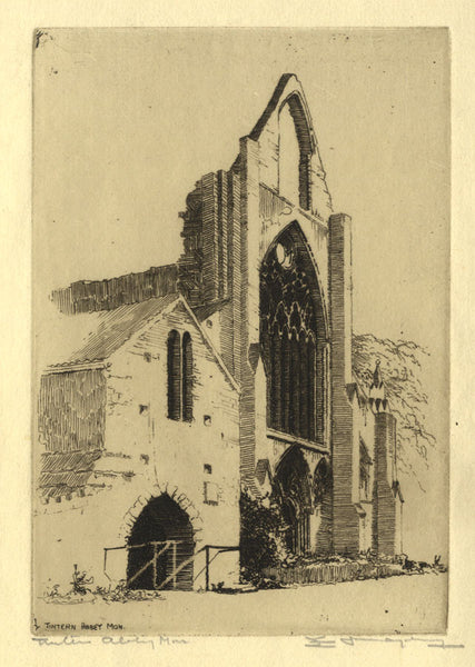 Edgar James Maybery, Tintern Abbey - Original early 20th-century etching print