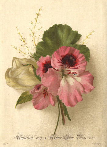 Floral Posy on Satin - Original late 19th-century lithograph print