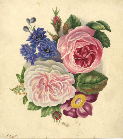 Susan Broadhurst, Floral Posy - Original 1821 watercolour painting