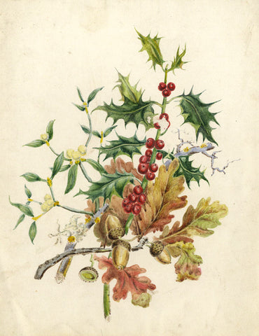 Beatrice G. Drummond, Autumn Winter Foliage - Original 1873 watercolour painting