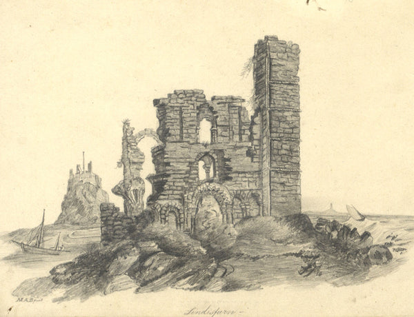 M.A. Broadhurst, Lindisfarne - Original 1821 graphite drawing