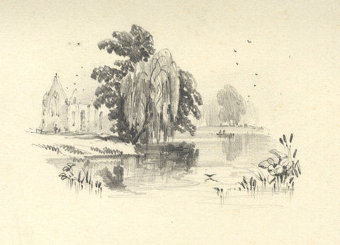 Joseph Horlor, Abbey Ruin by Lake - Original 19th-century graphite drawing
