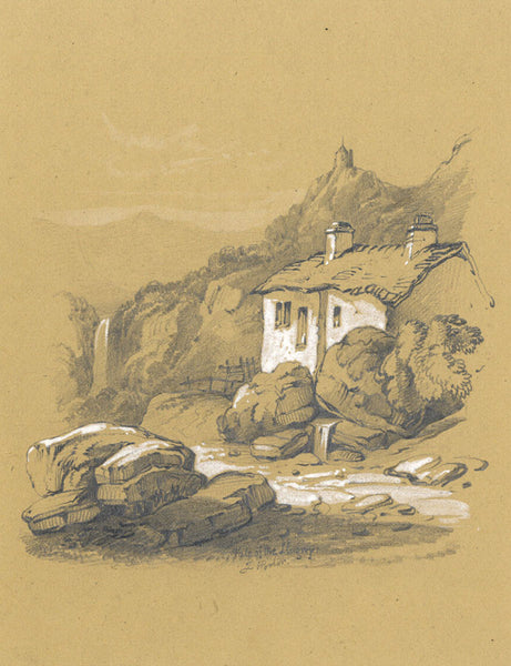 Joseph Horlor, Vale of the Llugwy, North Wales - Original 1840 graphite drawing