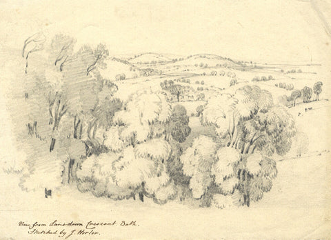 Joseph Horlor, Lansdown Crescent, Bath - Original 19th-century graphite drawing