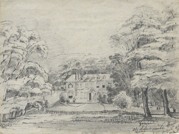 Frances Mary Perring, Widcombe House, Bath - Original 1851 graphite drawing