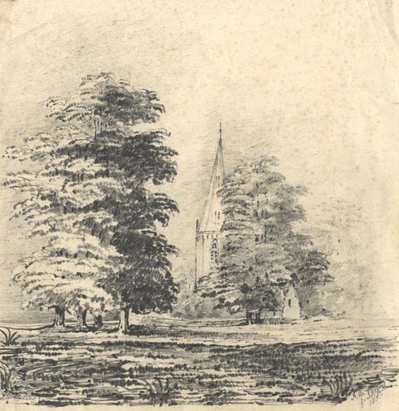Frances Mary Perring, Church View - Original 1853 graphite drawing