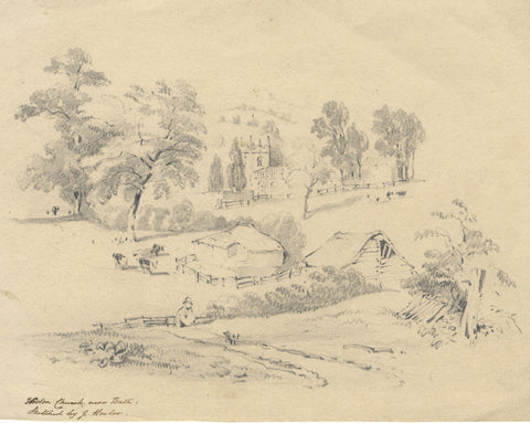 Joseph Horlor, Weston Church near Bath - Original 19th-century graphite drawing