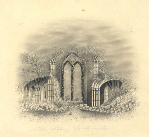 Netley Abbey, Southampton - Original 19th-century graphite drawing