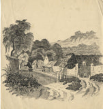 C. Mason, Farm Buildings with Figures - Original 19th-century pen & ink drawing