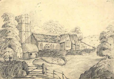 Frances Mary Perring, Country Church - Original 1844 graphite drawing