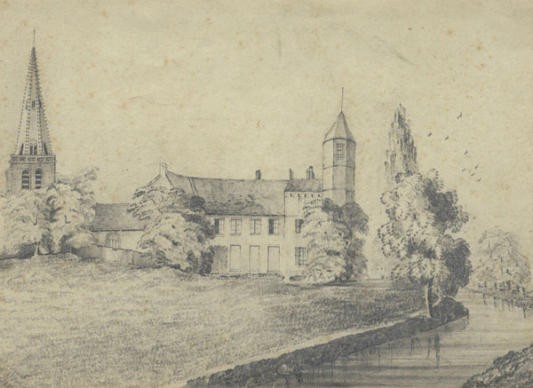 Frances Mary Perring, Chateau, Arques, France - Original 1845 graphite drawing