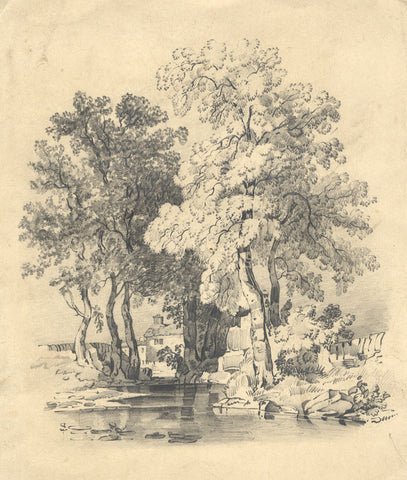 Frances Mary Perring, Trees by River - Original 1843 graphite drawing