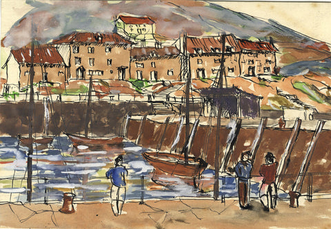 Robert Warren ARIBA, Harbour View & Figures - mid-20th-century pen & ink drawing