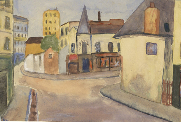 Robert Warren ARIBA, Village Crossroads - Mid-20th-century watercolour painting