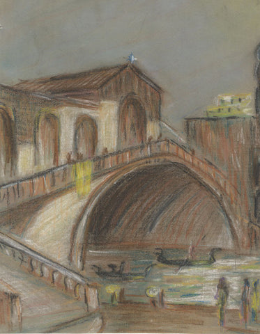Robert Warren ARIBA, Rialto Bridge, Venice - Mid-20th-century pastel drawing